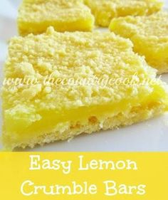 3-Ingredient Lemon Crumble Bars - The Country Cook