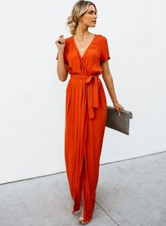 ae2b1af45bf The maxi dress is solid and slim. The maxi dress features short sleeve and v  neck. The maxi dress features waist tie and high slit.