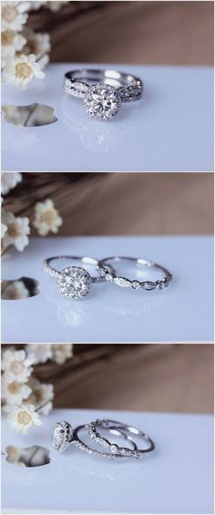 1ct Brilliant Moissanite Engagement Ring Set Solid 14K White Gold Wedding Ring Set Moissanite Ring Set / http://www.deerpearlflowers.com/engagement-rings-from-etsy/ #moissaniterings