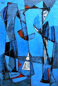 Pagan Forms, c. 1950 by Seymour Fogel noted Texas modernist artist. Abstract Expressionism, Abstract Art, Modern Art, Contemporary Art, Cubist Art, Mid Century Art, 21st Century, Sculpture, Art Forms