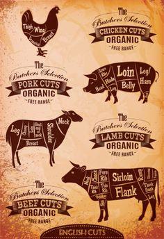 Neu Foto metzgerei logo Konzepte , diagram cut carcasses of chicken, pig, cow, lamb Stock Photo - Concept Restaurant, Meat Restaurant, Restaurant Ideas, Restaurant Branding, Restaurant Design, Carnicerias Ideas, Bar Deco, Lamb Cuts, Meat Store