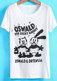 White Short Sleeve Cartoon Rabbit Print T-Shirt - Sheinside.com
