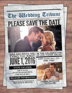 Newspaper save the date, wedding Invite/Bridal Shower INVITATION,  bridal shower invitation, wedding invitation, vintage, unique