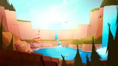 A set of backgrounds and asset development sheets for a series, 'The Adventures of Mal and Noel' pitched from @MissMousieMouse for Maker Studios.