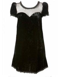 Black velvet babydoll dress