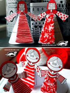 PAPER DOLLS printble templates, personalize with yarn and colors Diy Crafts For Kids, Arts And Crafts, Cardboard Art, Paper Tree, Preschool Art, Paper Dolls, Activities For Kids, Coloring Pages, Red And White