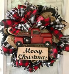 Farmhouse Christmas Wreath Rustic Christmas Wreath Black and Christmas Red Truck, Winter Christmas, Christmas Home, Christmas Crafts, Christmas Ideas, Christmas Music, Christmas Christmas, Christmas Quotes, Vintage Christmas