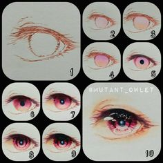 How to draw Manga and Anime Eye Drawing Tutorials, Digital Painting Tutorials, Digital Art Tutorial, Art Tutorials, Drawing Tips, Anime Tutorial, Polychromos, Eyes Artwork, Cartoon Eyes
