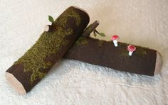 Small Stuffed Mossy Log Soft Sculpture by pidpenky