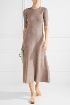 Light-brown and gray wool-blend Slips on 88% wool, 10% cashmere, 1% elastane, 1% nylon Designer color: Oatmeal/ Heather Gray Dry clean
