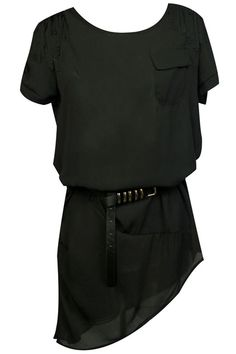 Asymmetric Belted Black Dress. Description Black dress, featuring round neckline, short sleeves, tassels embellishment on both shoulders, one chest flap pocket, belted waist, elastic sides, asymmetric pleated hem. Fabric Chiffon. Washing Cool hand wash with similar colours, do not tumble dry. #Romwe