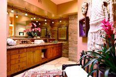 Contemporary Master Bathroom with limestone tile floors, Master bathroom, High ceiling, Undermount sink, flush light, Flush