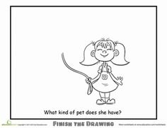 Second Grade People Animals Worksheets: Finish the Drawing: What Kind of Pet Does She Have?