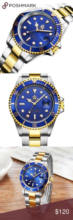 New Luxury Blue Sapphire Two Toned Men's Watch Round watch featuring unidirectional blue dive bezel with gold-tone trim and logoed dial with luminous hands/markers include push-down crown and magnified date window at 3 o'clock 40 mm two-tone stainless steel case with mineral dial window Japanese quartz movement with analog display, Stainless steel bracelet with gold-tone center links and foldover clasp with safety closure Water resistant to 30 m Waterproof for daily care ,not for swimming…