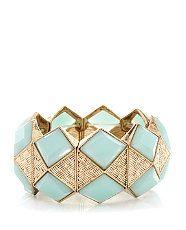 Mint Green (Green) Gold Diamond Stretch Bracelet | 293000637 | New Look