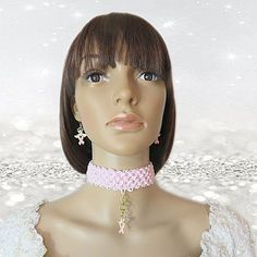 Breast Cancer Awareness crochet choker with matching earrings by AVCustomDesigns, $45.00 https://www.etsy.com/listing/200715530/breast-cancer-awareness-breast-cancer