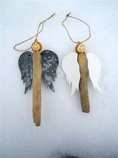 DIY Beach Christmas ornament craft idea. Driftwood angels. by ana