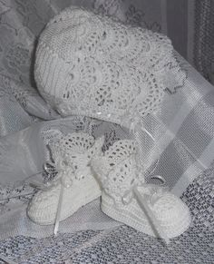 Heirloom Baptism Christening Blessing Gown with Bonnet and Booties Hand Crochet with No 10 Thread. $79.00, via Etsy.