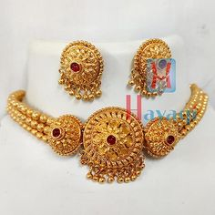 1 Gram Choker Necklace Set 1 Gram Gold Jewellery, Temple Jewellery, Gold Jewelry, Lehenga Designs, Mj, Necklace Set, Online Shopping, Crochet Earrings, Chokers