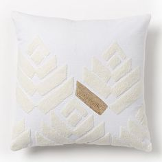 """Flower Buds Pillow Cover - Stone White/Gold 