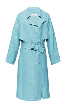 Olivia Palermo's #LFW Pin Picks: Try this double breasted linen trench by Apiece Apart to recreate the look from Burberry Prorsum SS '15.