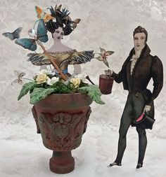 Artfully Musing: FORMAL GARDEN FEATURING POTTED LADIES - VIDEO TUTORIAL & NEW COLLAGE SHEETS