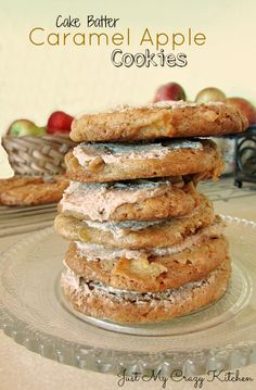 {Cake Batter} Caramel Apple Cookies on MyRecipeMagic.com #cookies #caramel #apple #cakebatter