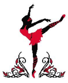0 point de croix danseuse ballerine noir rouge - cross stitch black red ballet dancer