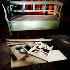 #werkstattkulisse #eswareinmal  #egyszervoltholnemvolt  Es War einmal eine Truhenbank...   und es wird auch wieder eine werden! ;) Wissenswertes: Jugendstil um 1890/1900 H: 955cm  B: 161cm T: 51cm Weichholz  #jugendstilbank #jugendstil #bench #holzbank #artnouveau #blog #antiquitätenladen #antikschwarzwald #titisee_neustadt #titiseeneustadt #holzmöbel #möbellager