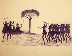 This drawing by Tommy McRae depicts the figure of William Buckley with a group of Koorie men. Tommy McRae is a Koorie artist from the Goulburn region in north east Victoria born around 1830. This sketch was most likely drawn by Tommy McRae in the 1880s. This sketch is one of seven sketches that were purchased by the Koorie Heritage Trust as part of a sketchbook in 1991.
