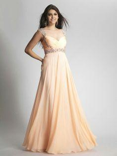 A-line Straps Chiffon Floor-length Sleeveless Beading Prom Dresses