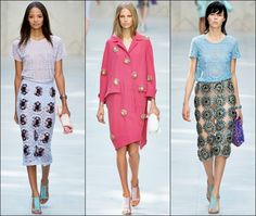Burberry Prorsum: Embellished Laced Pencil Skirt