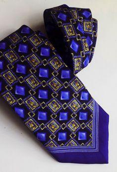 Vintage Westbury silk tie blue yellow pattern M Photos, Yellow Pattern, Dandy, Silk Ties, Blue Yellow, Vintage Ladies, Dapper, Etsy, Fashion