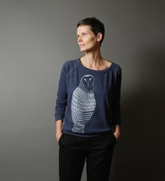 Blue Pullover Sweatshirt  Silver Metallic Cosmic Owl by sealmaiden, $38.00