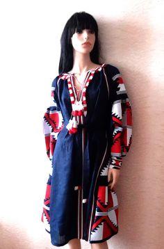 black Vyshyvanka Vita Kin style red white Embroidered Bohemian Linen Folk Embroidery MIDI Dress Boho Vita Kin Style. Sizes - XS-XXL 039