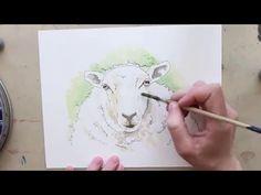 Sheep Watercolour Speedpaint - YouTube