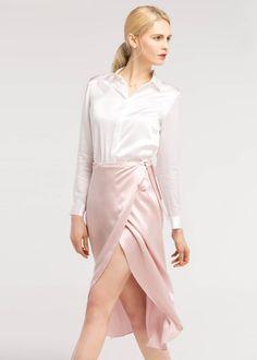Tulip Hem Silk Wrap Skirt by lilysilk Satin Skirt, Silk Skirt, Satin Dresses, Silk Dress, Wrap Dress, Dress Skirt, Dress Shoes, Shoes Heels, Rose Pastel