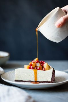 Crusted Chèvre Cheesecake with Earl Grey Poached Pears & Pomegranate . -Chocolate Crusted Chèvre Cheesecake with Earl Grey Poached Pears & Pomegranate . Mini Desserts, Delicious Desserts, Yummy Food, Gourmet Desserts, Food Cakes, Cheesecake Recipes, Dessert Recipes, Oreo Dessert, Dessert Ideas