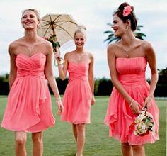 coral bridesmaid dresses?!