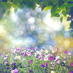 SUSU 10x10ft Bokeh Photo Background Pink and White Flowers Photography Backdrops Spots Spring Studio