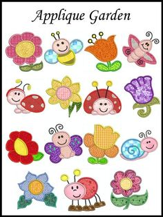 Down in my Garden Machine Embroidery Applique by embroiderquilt, $9.00
