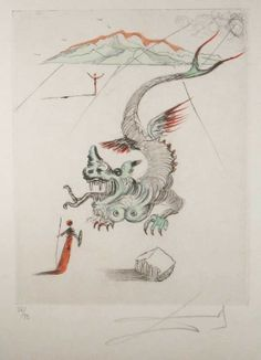 Salvador Dalí - The Green Dragon | From a unique collection of prints and multiples at http://www.1stdibs.com/art/prints-works-on-paper/