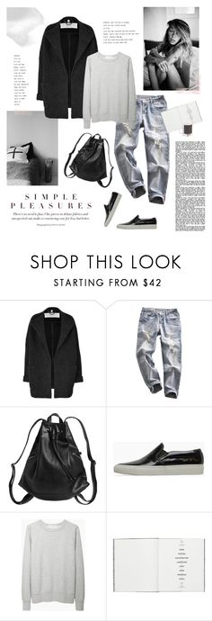 """""""Simple Pleasures"""" by bellamarie ❤ liked on Polyvore featuring Margaux Lonnberg, Burberry, Monki, Common Projects, Étoile Isabel Marant, CB2 and W2 Products"""