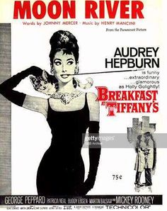 🎼🎸 Sheet Music cover for the song ❝🌛 Moon River ❞ as used in the film { Breakfast at Tiffany's } starring 👸 Audrey Hepburn (Photo by GAB Archive/Redferns)