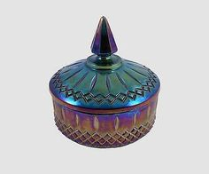 Vintage-Indiana-Carnival-Iridescent-Blue-Glass-Two-Piece-Candy-Dish-amp-Lid