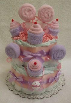 2 Tier Sweet Treat Diaper Cake by BountifulBabyCakes on Etsy, $49.00