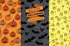 Hand Drawn Halloween Patterns by Lemonade Pixel on Creative Market