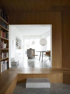 Minimal concrete wood transition