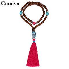 Comiya fashion stylish red tassel long necklace wood beads handmade collares necklaces