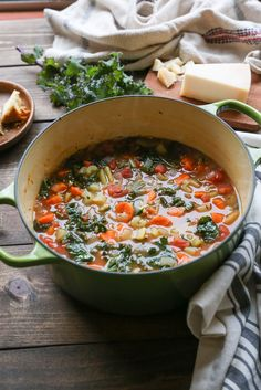 Rustic Minestrone Soup with Rice and Kale | TheRoastedRoot.net #healthy #vegetarian #soup #recipe #dinner